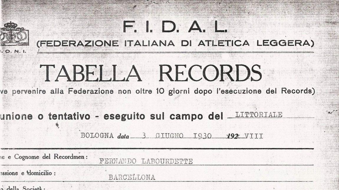 ACTA DEL RÉCORD DE ESPAÑA DE FERNANDO LABORDETTE (BOLONIA 1930)